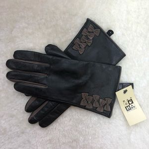 NWT Max Studio Black and Brown Leather Gloves